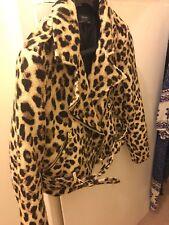 Zara Jacket Biker Animal Leopard Print Black Gold Beige