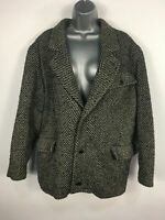 WOMENS GIAN PAOLO ORANI BLACK GREY HERRINGBONE WOOL MOHAIR WINTER COAT 46 UK 18