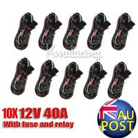 10pcs Universal Wiring Harness Kit Loom For Led Work Light Bar W/ Fuse Relay