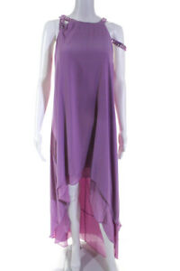BCBGMAXAZRIA Womens Sleeveless Beaded Full Length Gown Pink Size Large