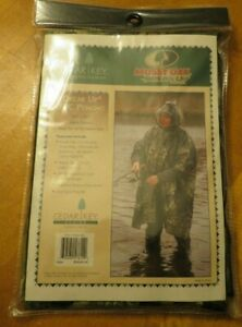 "NEW CEDAR KEY PVC RAIN PONCHO MOSSY OAK BREAK UP ADULT 50"" X 80"""