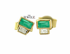 14K Gold Genuine Baguette Diamond And Emerald Tiny Studs Earrings Fine Jewelry