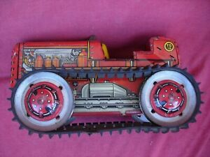 MARX Tractor Wind Up Toy Tin  MAR Contsruction Bulldozer CAT Caterpillar