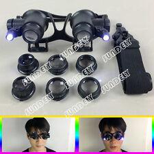 10/15/20/25X Watch Repair Dental Loupes Binocular Magnifying Glass LED Magnifier