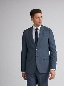 BURTON MENSWEAR LONDON Mens Blue Jaspe Check Slim Fit Suit Jacket Overcoat