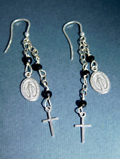 Rosary Earrings, Madonna, Cross in 925 silver Swarovski Hand Made Italy WS Coral