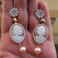 ESTATE FINE CAMEO DANGLE EARRINGS YELLOW NATURAL HAND CARVED VINTAGE ITALY