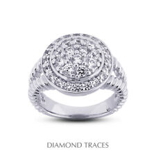 Diamonds 950 Plat. Halo Right Hand Ring 3/4 Ct F Vs2 Round Cut Natural Certified