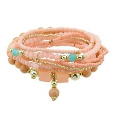 Peach Multilayer Stretch Beads Bracelets Set