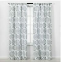 "THRESHOLD 2 Panels Blue Florence Light Filtering Curtain Panel 84""x 40"" EACH"