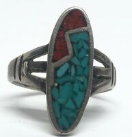 Vintage Sterling Silver Ring 925 Size 4 Coral Turquoise Crushed Southwest