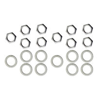 10x Silver Iron Jack Nuts + Washers for Electric Guitar Bass Replacement