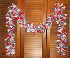 AMERICANA RAG GARLAND, 6 ft,Homespun,Country,Prim,Shabby,Patriotic,4th of July