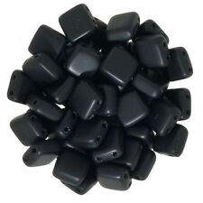 Czechmates Glass 6mm Tile Beads - 50 Beads - Matte Jet Black