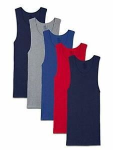 Fruit of the Loom Men's Tag-Free Tank A-Shirt 5 Pack - Assorted Colors Small