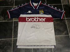 UWE ROSLER SIGNED MANCHESTER CITY FOOTBALL SHIRT COA 1997 AWAY GERMANY MALMO
