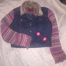 Oilily Women's Jacket Sweater Sleeve Bossio Denim Crochet Boho Fringe S