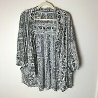 Patrons of Peace Women's Open Kimono Cardigan Top Size Small Pockets 3/4 Sleeves