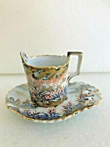 rare  tasses et soucoupe porcelaine ancienne st clément décor chinois 19ieme