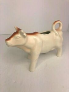 Pottery Barn Creamer Cow Pitcher Brown White Cream Tail Handle