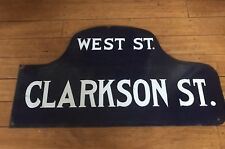 GREENWICH VILLAGE  WEST / CLARKSON ST NYC DOUBLE SIDED HUMPBACK PORCELAIN SIGN