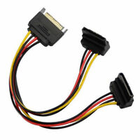 20cm SATA 15Pin Male to Dual 15P Female 90 Degree Y Splitter Power Adapter L4G7