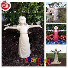 Girl Sculpture Garden Statue God Glory Outdoor Little Decor Bird Patio Yard Lawn
