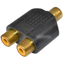 RCA Phono Y Splitter Adaptor Connector 2 x Female to 1 x Female Audio Video GOLD