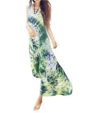 Womens Ladies Green Tie Dye Maxi Dress Silky Beach & Evening Dress *UK Seller