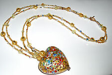 24K Gold Klimt Multicolored Murano Heart and Crystal Necklace