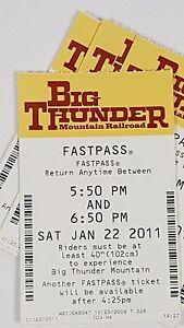 Disney FASTPASS Walt Disney World Fast Pass Ticket BIG THUNDER MOUNTAIN 5:50