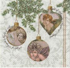 2 Serviettes en papier Anges Boule de Noël Decoupage Paper Napkins Angel Trio