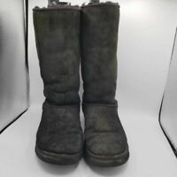 Ugg Australia Womens Classic Tall Winter Boots Black Leather Fur Pull Ons 11