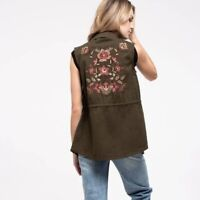 SWEET WANDERER Floral Embroidered Olive Green Utility Vest Women's LARGE NWT NEW