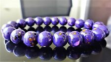"Purple Gemstone bead bracelet for Men Women Stretch 10mm - 7.5"" inch Multicolor"