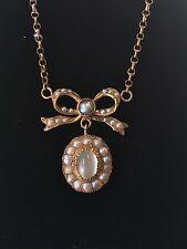 Antiguo Oro 15ct georgiano perla semilla Arco y Piedra Lunar Collar Colgante