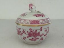 Viintage MEISSEN Porcelain PURPLE INDIAN Round Covered Bowl Flower Bud Finial