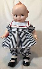 Vtg Jesco Cameo Kewpie Doll Girl w/Striped Blue Dress w/Heart & White Collar