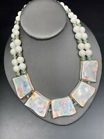 Ladies Bib Statement Necklace White Beaded Gold Ceramic Pastel Statement Bib 16""