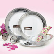 Set Disposable Plastic Deluxe White & Silver Wedding Party Plates, Bowls & Cups