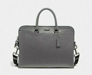Coach Men's Beckett Heather Grey Leather Portfolio Briefcase F68029 $450