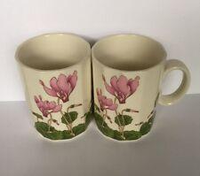 Vintage Otagiri Pink Cyclamen Porcelain Coffee Mug Octagon Shaped Set of 2