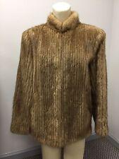 Vintage Women's Mink Lined Coat Jacket Wrap size 14 Natural Mink Henig Fur Tan