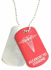 Personalised Allergic To Codeine Medical Alert Red/Silver Tag ENGRAVED FREE
