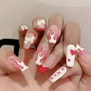 Fake Nails Bow White Red Heart Flame Pattern Full Artificial Nail Tips Hot Girls