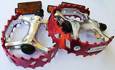 "Old school BMX XC-II VP-747 bear trap pedals 9/16"" (FOR 3 PIECE CRANKS) RED"