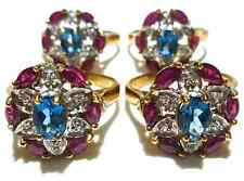 DESIGNER QVC 10K YELLOW GOLD RUBY LONDON BLUE TOPAZ DIAMOND COCKATIL RING