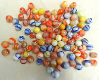 #12950m Vintage Group or Bulk Lot of 100 Peltier Glass Marbles .57 to .68 Inches