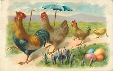 """1908 """"Loving Easter"""" Chicken Family on Path Postcard"""