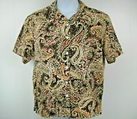 Erika Plus Size 1X Brown Paisley Short Sleeve Linen Blouse